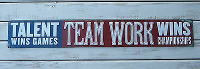 TEAMWORK WINS CHAMPIONSHIPS Sport Athlete Mancave Motivational METAL SIGN