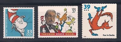 DR SUESS - CAT IN THE HAT - FOX IN SOCKS - SET OF 3 U.S. STAMPS - MINT CONDITION