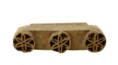 Antique Bunta Stamped Wood Printing Fabric Textile Batik Rajasthan India X50
