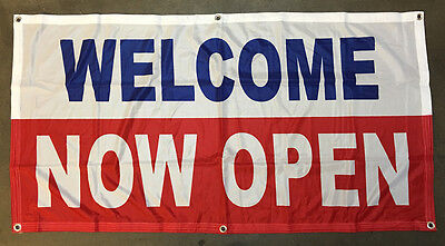 Welcome Now Open Banner Sign Vinyl Alternative Store Retail 2x4 Ft - Fabric Wb