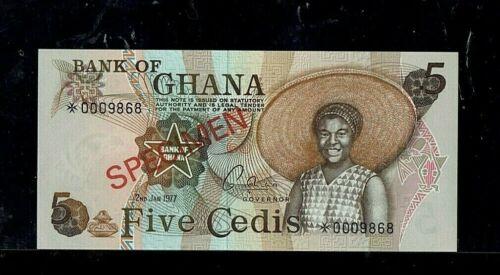 GHANA | 5 Cedis | 1977 |  SPECIMEN | GEM UNC