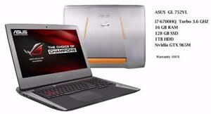 ASUS ROG  G752VL 17'' IPS FHD Intel i7-6700hq 16GB 128GB SSD,1TB HDD, NVIDIA GeForce GTX 960M with 3GB,