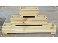 long Wooden Decking Planter/Window Box/Trough/Garden/Herb/Flower 30 60 90cm