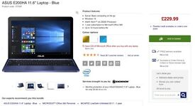 """ASUS E200HA 11.6"""" Laptop - Blue, barely used - £150"""