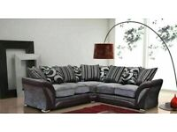 🔵🔴SUPER SALE OFFER🔵SHANNON SOFA FABRIC & FAUX LEATHER-CORNER/3+2 SEATER-black and grey only