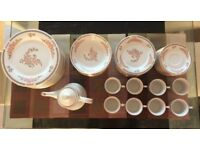 57 Piece Dinner/Tea Set - Dinner & Side Plates/Bowls/Mugs/Teapot Floral Mist Crown Ming Fine China