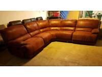 Ex display red suede corner sofa