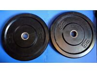2x5 & 2x10 Kg Solid Rubber Olympic Bumper weights & 4x1.25 rubber coated plates