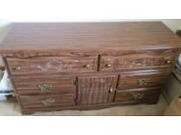 BEDROOM UNIT/CHEST, DARK WOOD, ORNATE/CARVED, DRAWERS & CUPBOARD, USA MADE, GC