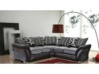 🟦✔️Low Prices And Best Quality🟦✔️SHANNON SOFA FABRIC & FAUX LEATHER-CORNER/3+2 SEATER-black grey