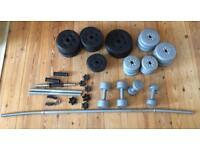 Mixed set of gym weights/ bars and dumbbells