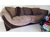 3 seater sofa and armchair, soft brown cord & leather. Cushion back.