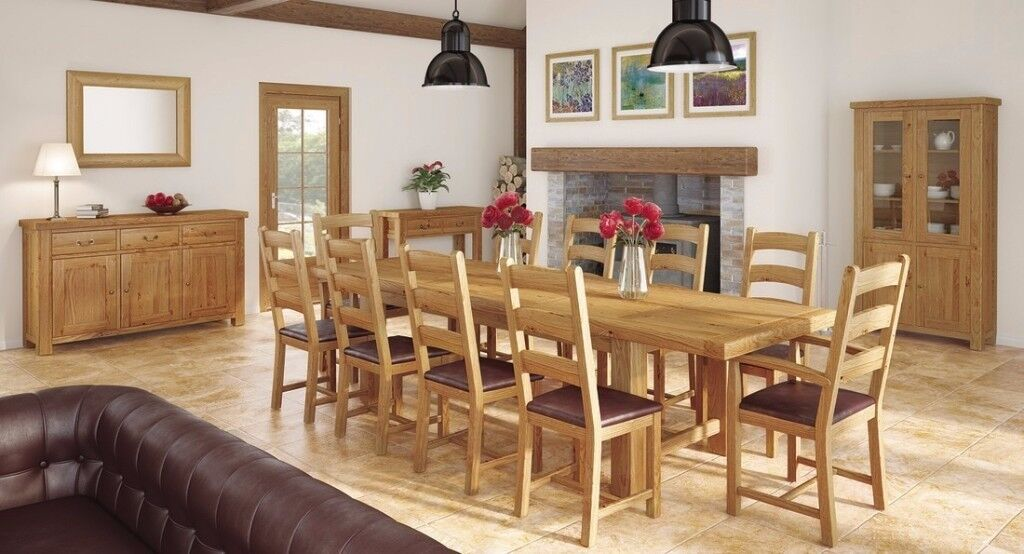 The Massive 10ft Chateau Double Extending Oak Dining Table with 8 chairs £999 On display LAST ONE