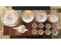 57 Piece Dinner/Tea Set - Dinner & Side Plates/Bowls/Mugs/Teapot Floral Mist Crown Ming Fine China