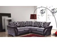 SPECIAL OFFER - LEATHER & FABRIC CORNER SOFA IN BLACK / BROWN
