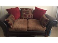 Brown leather/fabric sofa