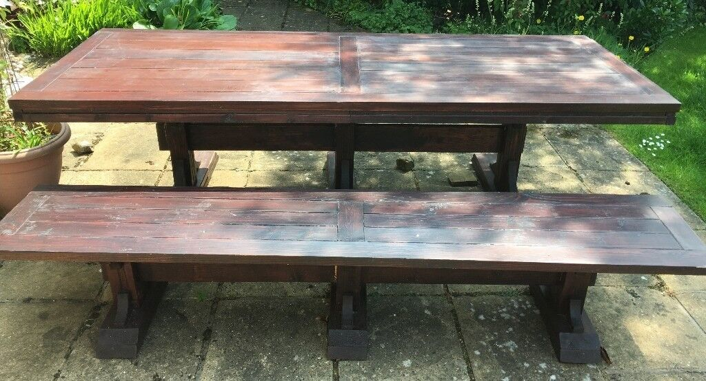 Pleasant Dining Room Table With Matching Bench 8 Feet Long In Great Shelford Cambridgeshire Gumtree Machost Co Dining Chair Design Ideas Machostcouk