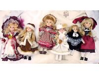 Six beautiful collectable Porcelain Dolls immaculate condition