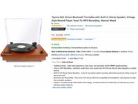 1byone Belt Driven Bluetooth Turntable,Built-in Stereo Speaker, Vinyl-To-MP3 Recording, Natural Wood
