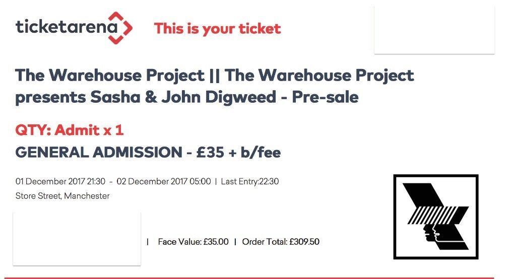 SASHA AND JOHN DIGWEED~MANCHESTER~WAREHOUSE PROJECT~100% TRUSTED SELLER