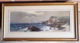 Pair Victorian watercolours - coastal scenes.
