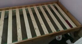 pine frame single bed complete with mattress