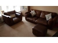 Leather sofa, chair and storage footstool