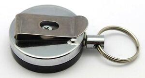 Attache-Porte-Badge-ID-Porte-Cles-Enrouleur-Zip-60-cm-en-Metal-Pince-Ceinture