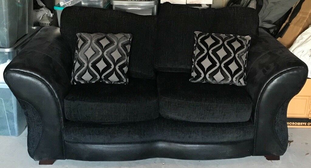 Dfs Black 2 Seater Sofa And 3 Corner