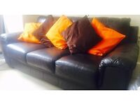 Two 3 Seater Brown Leather Sofas for sale - Sold together or separately