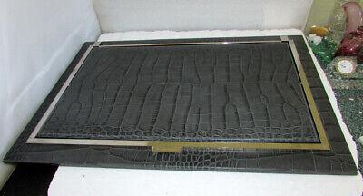Renzo Romagnoli Crocco Alligator Embossed Leather Flip Blotter Desk Pad Italy