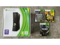 Xbox 360 boxed console and black ops, GTAV, undead nightmare games