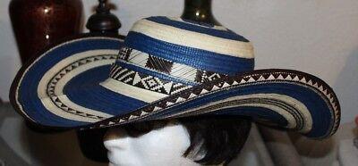 COLOMBIAN HAT~~FINO SOMBRERO VUELTIAO~~COLOMBIA, CUSTOM DESIGN WHITE BLUE - Custom Sombrero