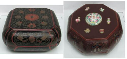 2 WONDERFUL LARGE ANTIQUE CHINESE HAND PAINTED LACQUERED WEDDING BOXES
