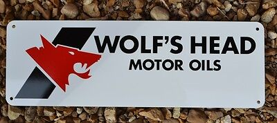 Wolfs Head Motor Oil Metal Sign Pennsylvania Crude Advertising logo Mechanic 10d