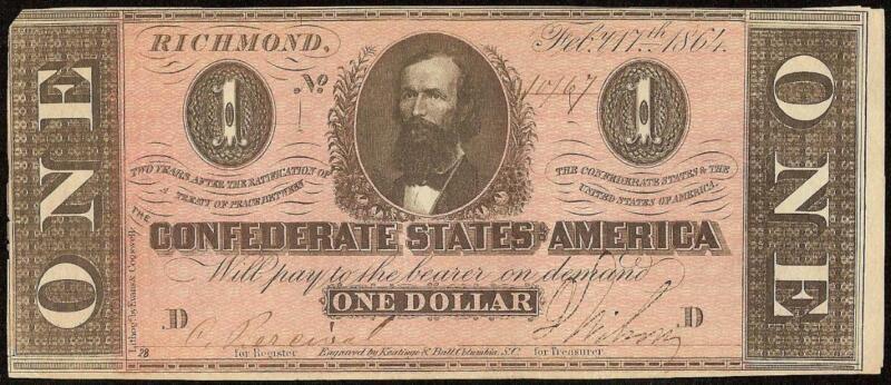 1864 $1 DOLLAR BILL CONFEDERATE STATES CURRENCY CIVIL WAR NOTE MONEY T-71 AU