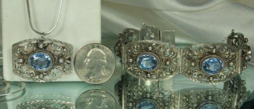 PERUZZI FLORENCE Set SIGNED Silver & BLUE SPINEL Bracelet Pendant Pin 925 Chain