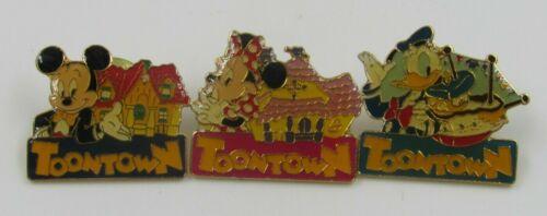 Tokyo Disneyland Toontown Pin Lot of 3 Mickey, Minnie, Donald