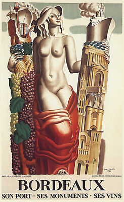 BORDEAUX FRANCE PORT MONUMENTS WINE TRAVEL FRENCH VINTAGE POSTER REPRO 10x16 France Bordeaux White Wine