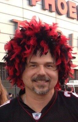 Arizona Cardinals Red Black Feather Costume Wig Team Spirit Season Ticket Holder Red Ticket Holder