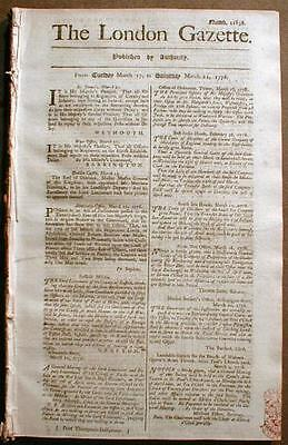 Original 1780-1783 American Revolutionary War newspaper LONDON GAZETTE England