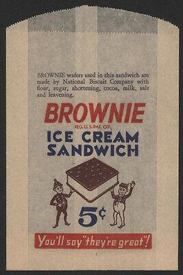 1930s BROWNIE Ice Cream Sandwich Bag Brownie Ice Cream Sandwich
