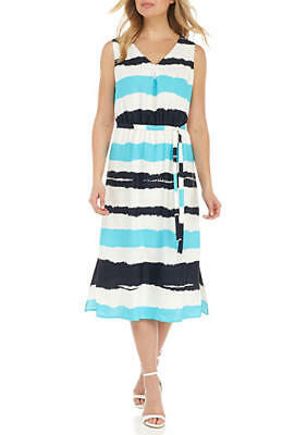 NWT Nine West Ice Blue Multi Stripe Belted Sleeveless A-line Midi Dress 4 $89