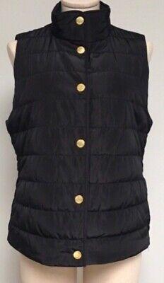 Michael Kors Women's Puffer Jacket Gold Snap Buttons Size L Black Puffer Vest