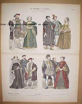 ENGLAND 16th Century Historic Costumes Dress Fashions of Royalty Nobility, Antiq - Historical Figure Costume