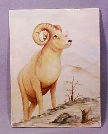 Gerold Bavaria Hand Painted Porcelain Mountain Goat Ram Decorative Tile