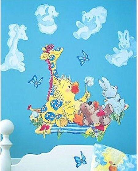Little Suzy Zoo Baby Animals Nursery Wall Mural Decals Duck Bear Bunny Giraffe
