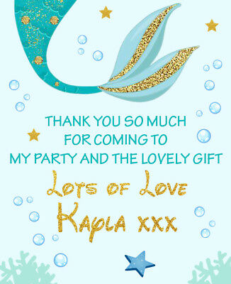 PERSONALISED MERMAID CHILDRENS BIRTHDAY THANK YOU NOTES LETTERS CARD GIRLS MER6