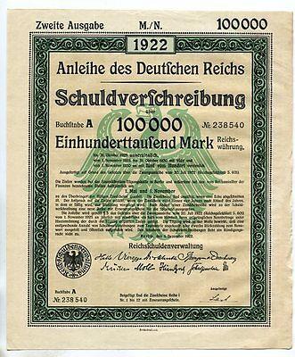 1922 GERMANY Deutsches Reich German Treasury Bond - 100,000 Marks