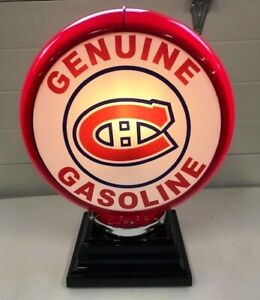 MONTREAL CANADIANS (HABS) HOCKEY GAS PUMP GLOBE TABLE LAMP